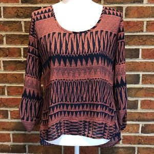 Charlotte Russe Open Back Aztec Blouse Size Small